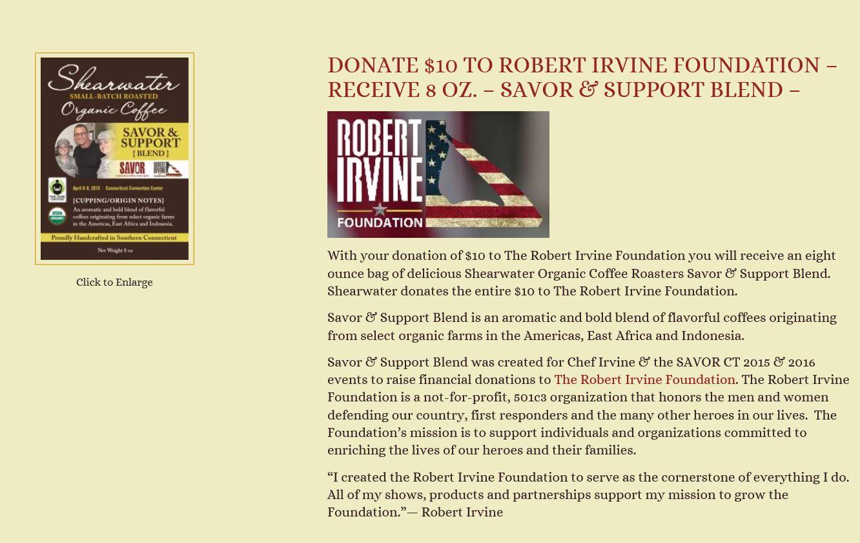 Robert Irvine Foundation Savor & Support Blend Website Clip